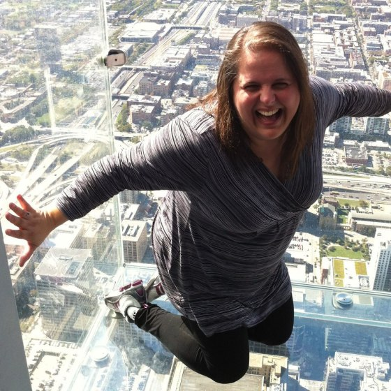 A YOLO moment of my own sitting (almost) on top of the world!  Chicago's Willis Tower, September 2012.